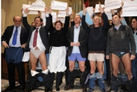Romes counsellors  protesting against mayor Gianni Alemannos policy during a local council at the Campidoglio, Romes city hall.