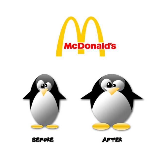 Before and after penguin eating McDonalds.PNG