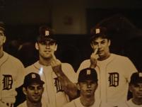Old picture of Tigers baseball players making baseball signals.jpg