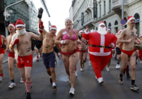 A half naked Santa run in downtown Budapest