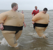 Two guys in Sumo wrestler costumes