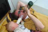 Funny family pictures of dad and baby drinking next to each other with their own drinks.PNG