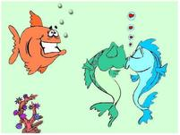 kissing cartoon sea horses with a funny looking fish.jpg