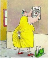 funny cartoon with a big lady has her tiny dog on the back of her behind which she thought she had lost.jpg