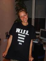 Married woman in funny W.I.F.E. t-shirt.jpg