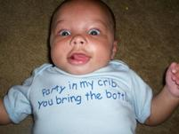 Baby wearing funny t-shirt that says Party in My Crib.jpg