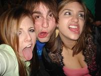 Two girls and a guy make weird funny faces.jpg