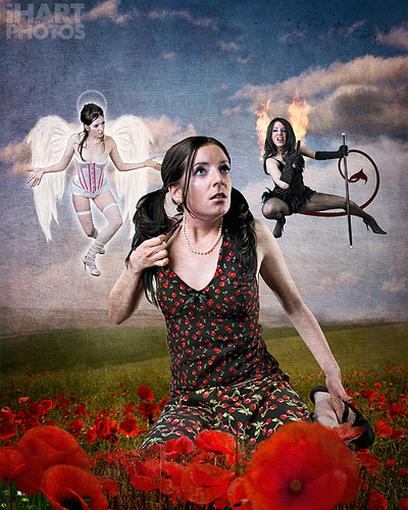 Brunette woman in grassfields contemplating between angel and devil side.jpg